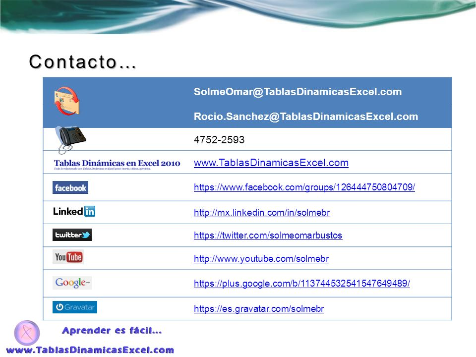 Contacto… SolmeOmar@TablasDinamicasExcel.com