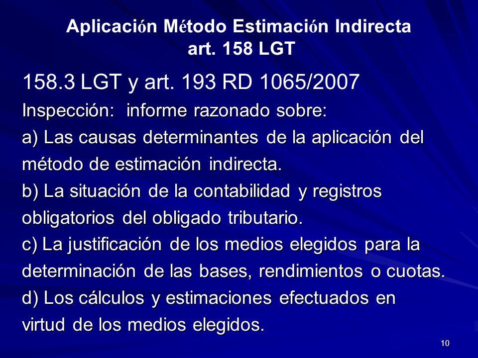 Aplicación Método Estimación Indirecta art. 158 LGT