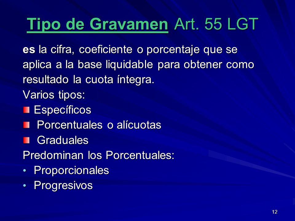 Tipo de Gravamen Art. 55 LGT
