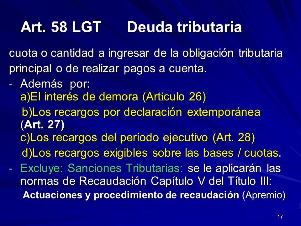 Art. 58 LGT Deuda tributaria