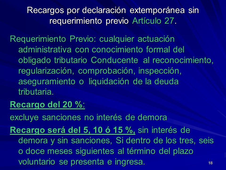Recargos por declaración extemporánea sin requerimiento previo Artículo 27.