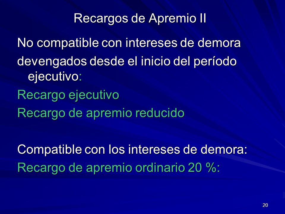 Recargos de Apremio IINo compatible con intereses de demora. devengados desde el inicio del período ejecutivo: