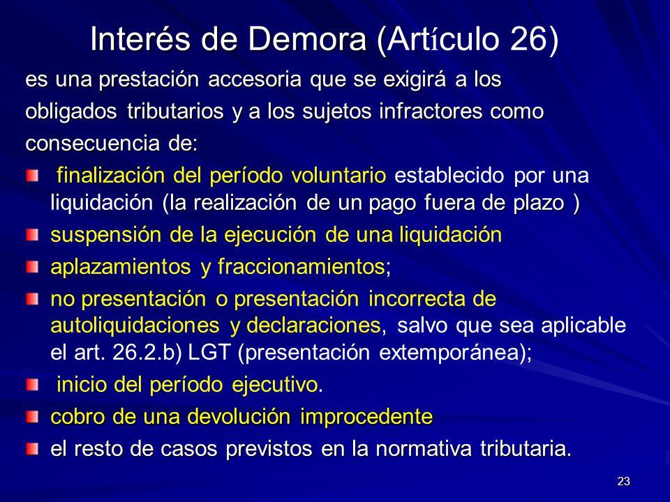 Interés de Demora (Artículo 26)