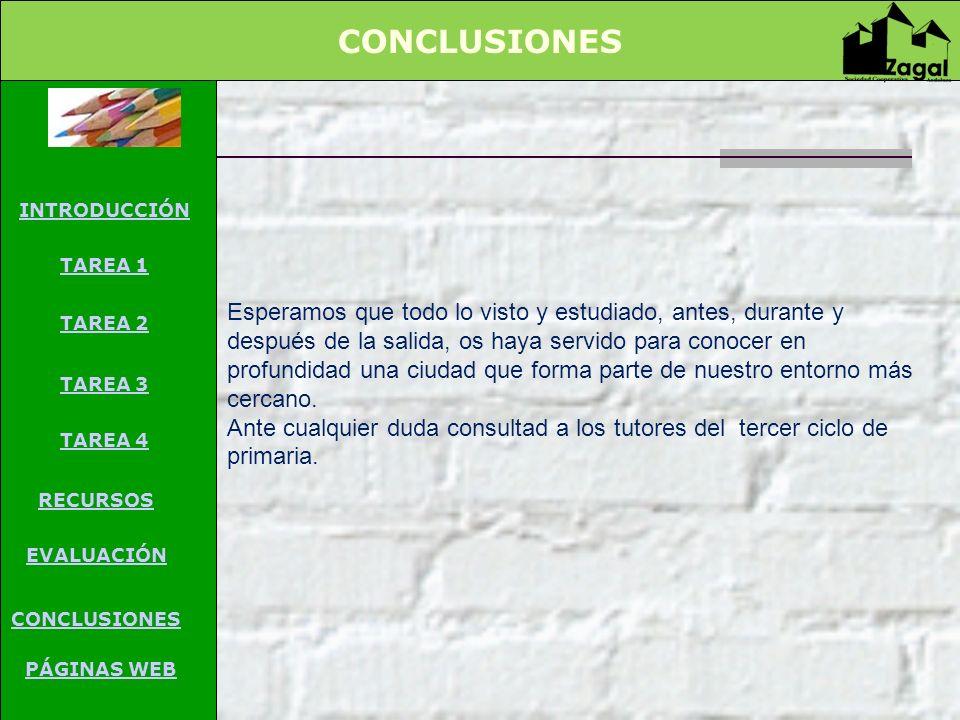 CONCLUSIONES PÁGINAS WEB. INTRODUCCIÓN. TAREA 1. TAREA 2. TAREA 3. TAREA 4. RECURSOS. EVALUACIÓN.
