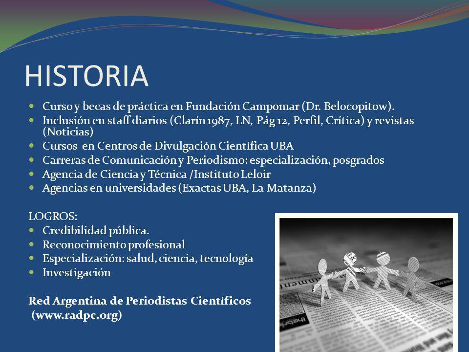HISTORIA Curso y becas de práctica en Fundación Campomar (Dr. Belocopitow).