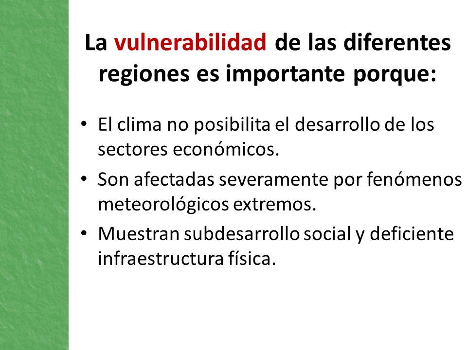 La vulnerabilidad de las diferentes regiones es importante porque: