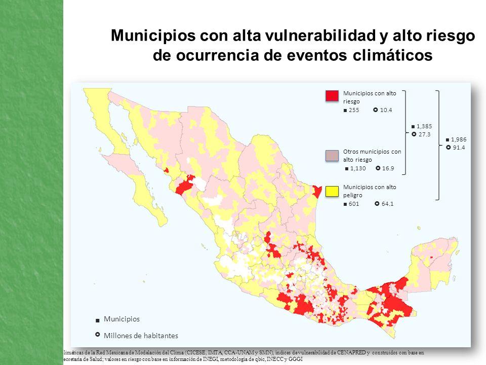Municipios con alta vulnerabilidad y alto riesgo de ocurrencia de eventos climáticos