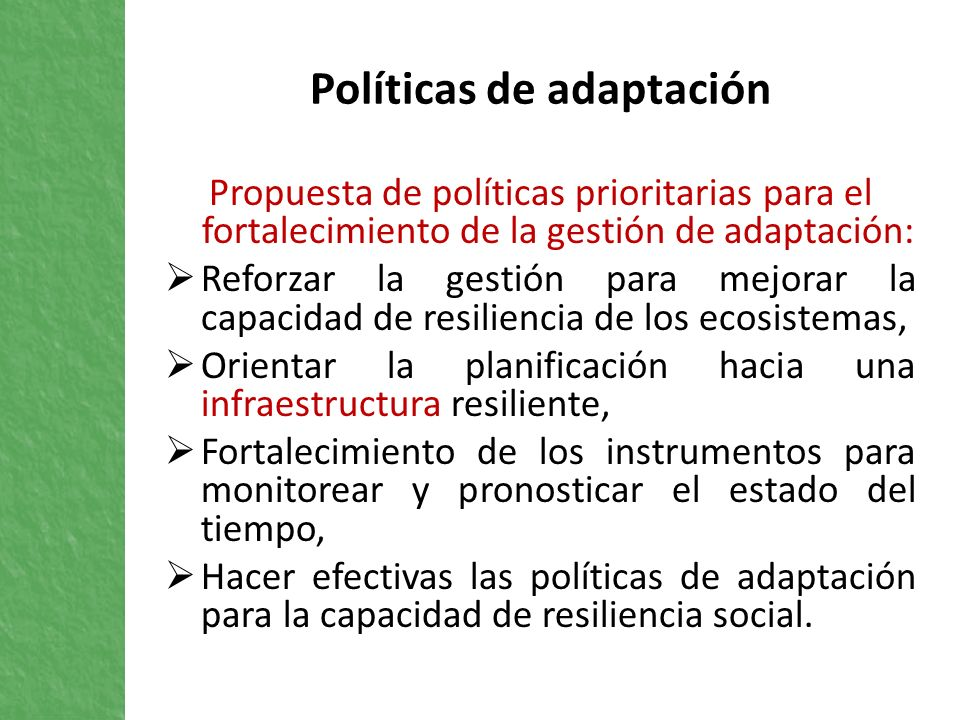 Políticas de adaptación