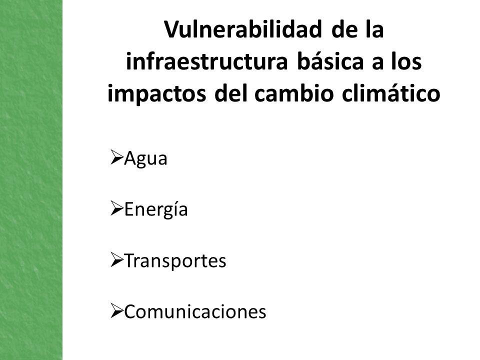Vulnerabilidad de la infraestructura básica a los impactos del cambio climático