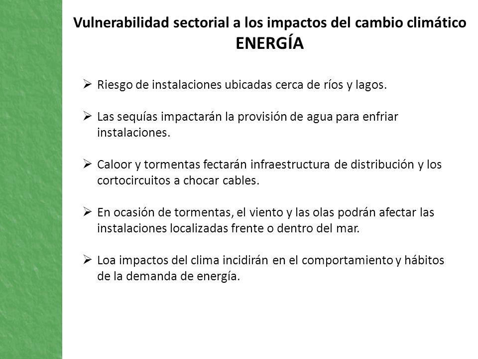Vulnerabilidad sectorial a los impactos del cambio climático