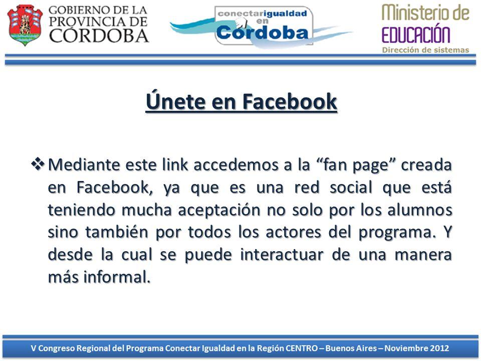 Únete en Facebook