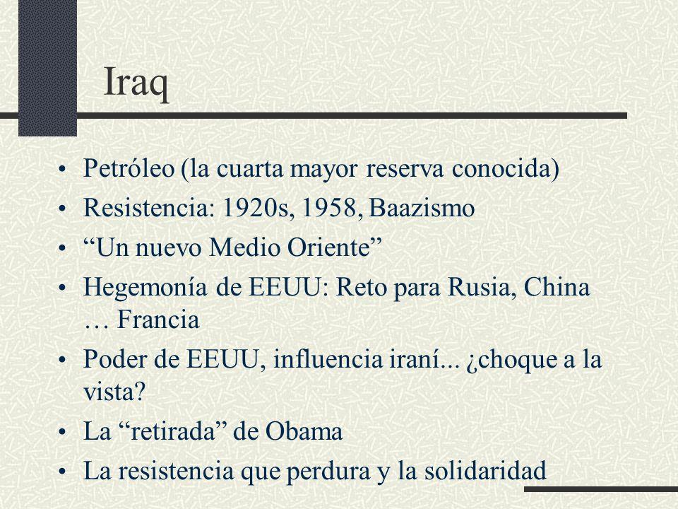 Iraq Petróleo (la cuarta mayor reserva conocida)