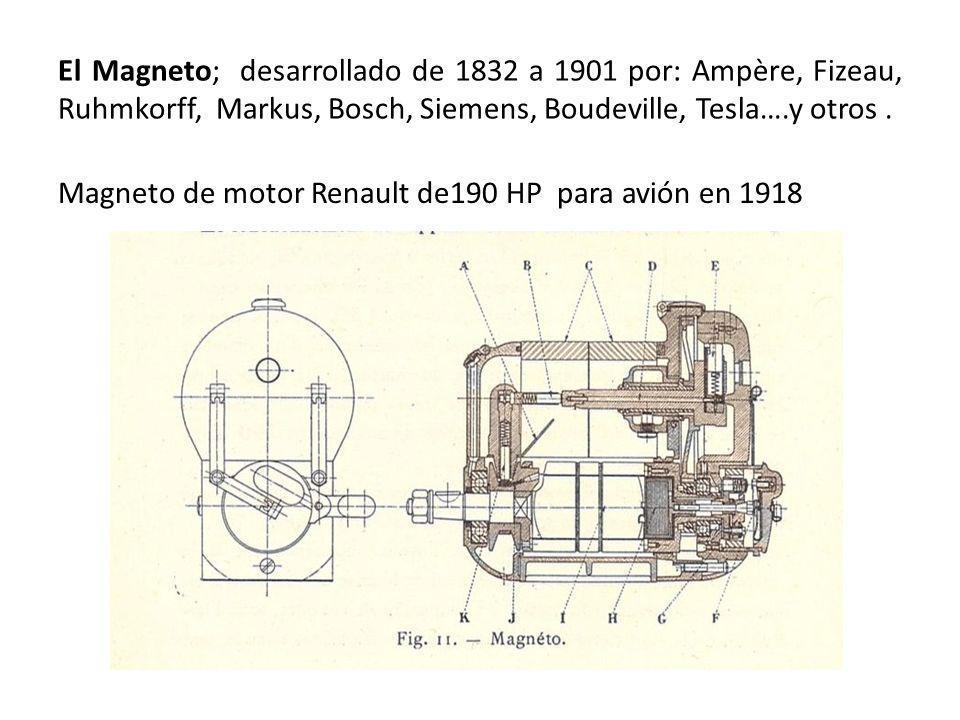 El Magneto; desarrollado de 1832 a 1901 por: Ampère, Fizeau, Ruhmkorff, Markus, Bosch, Siemens, Boudeville, Tesla….y otros .