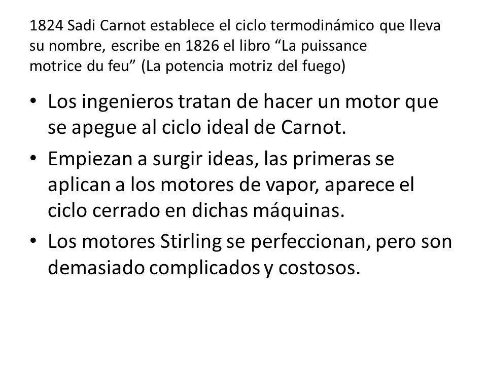 1824 Sadi Carnot establece el ciclo termodinámico que lleva su nombre, escribe en 1826 el libro La puissance motrice du feu (La potencia motriz del fuego)