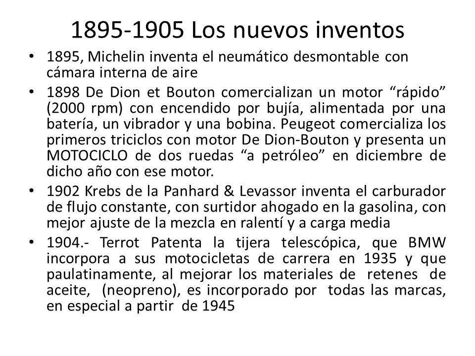 1895-1905 Los nuevos inventos 1895, Michelin inventa el neumático desmontable con cámara interna de aire.