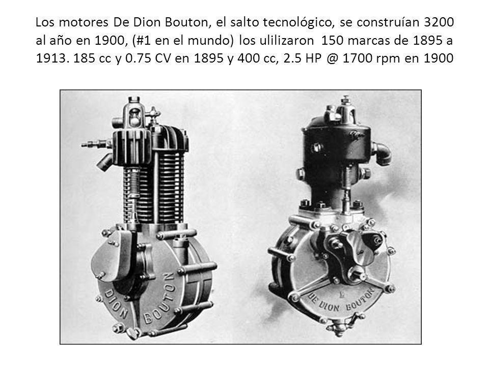 Los motores De Dion Bouton, el salto tecnológico, se construían 3200 al año en 1900, (#1 en el mundo) los ulilizaron 150 marcas de 1895 a 1913.