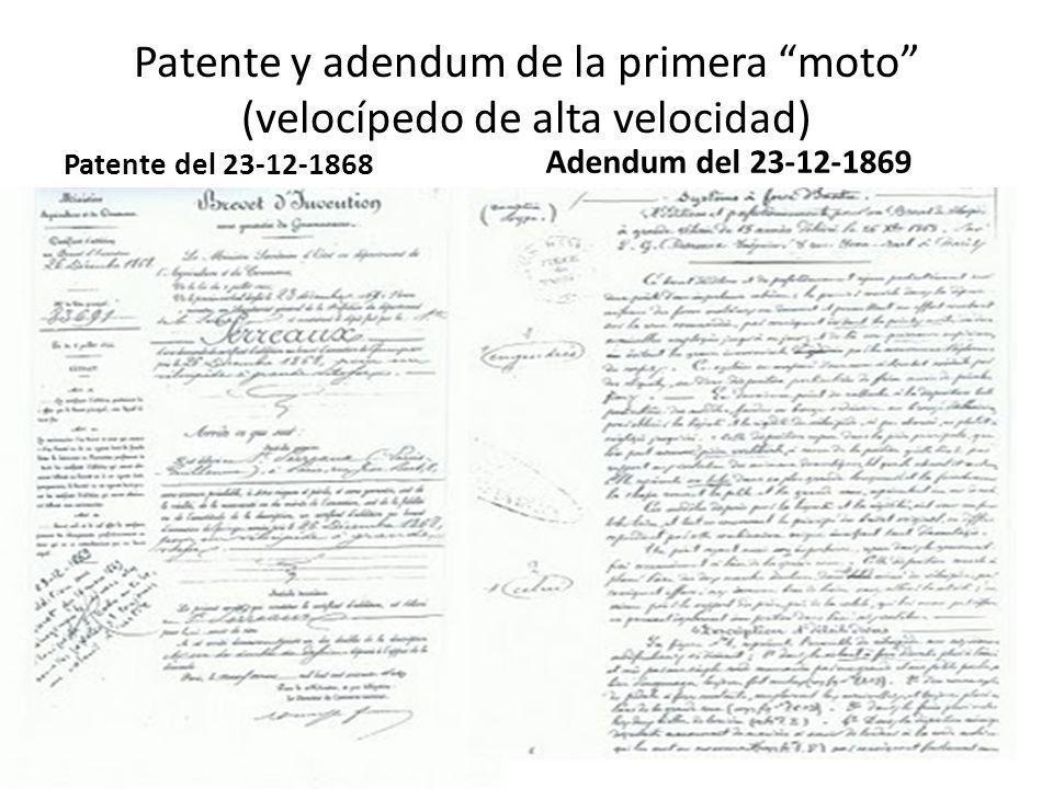 Patente y adendum de la primera moto (velocípedo de alta velocidad)