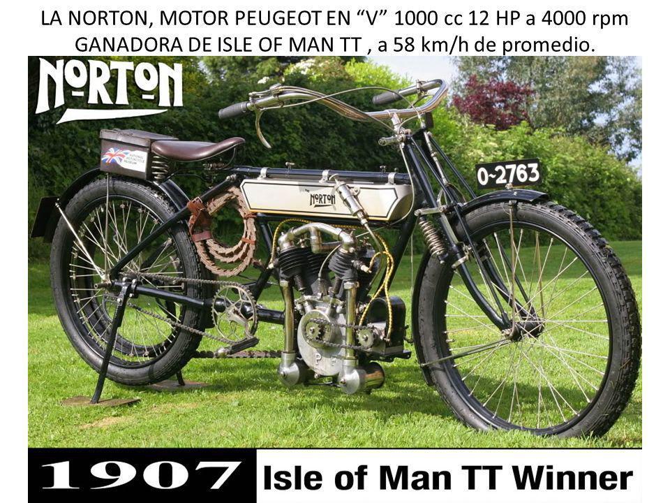 LA NORTON, MOTOR PEUGEOT EN V 1000 cc 12 HP a 4000 rpm GANADORA DE ISLE OF MAN TT , a 58 km/h de promedio.