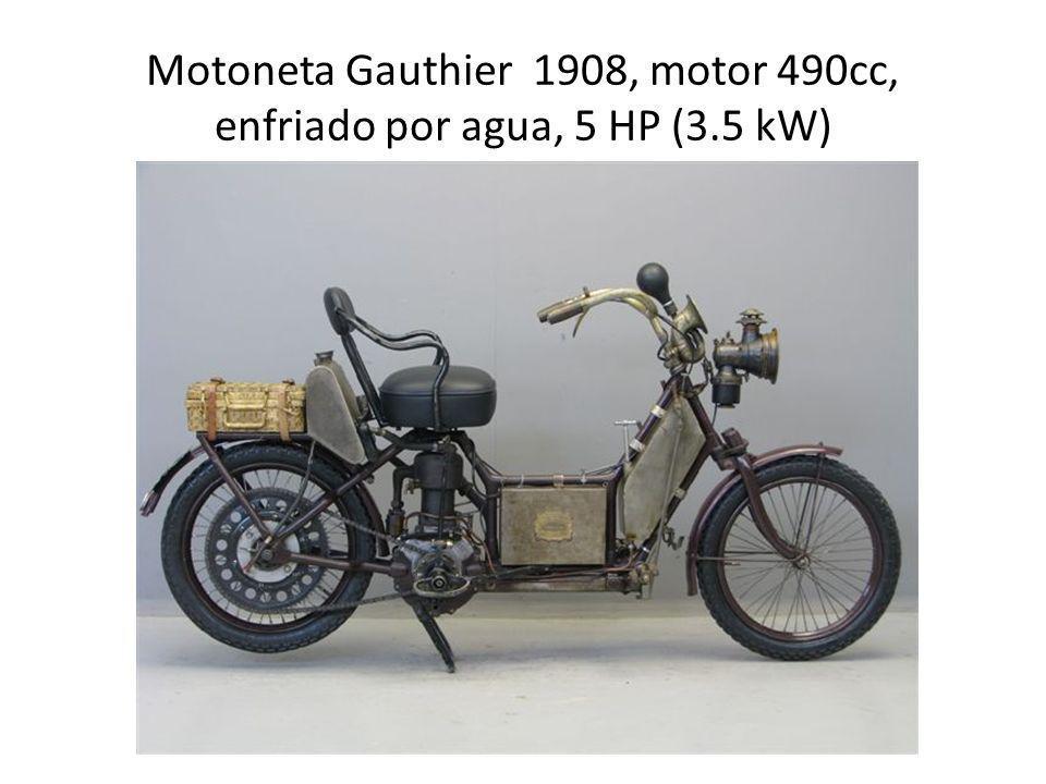Motoneta Gauthier 1908, motor 490cc, enfriado por agua, 5 HP (3.5 kW)