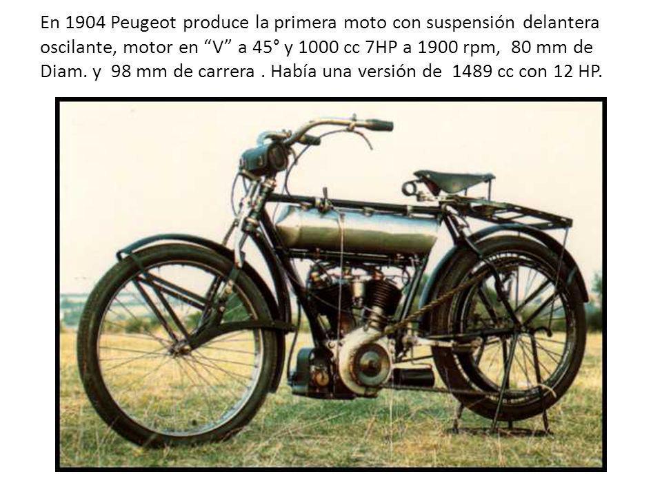 En 1904 Peugeot produce la primera moto con suspensión delantera oscilante, motor en V a 45° y 1000 cc 7HP a 1900 rpm, 80 mm de Diam.