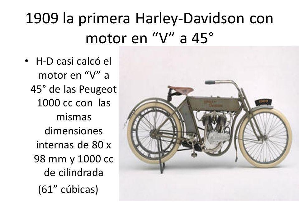 1909 la primera Harley-Davidson con motor en V a 45°