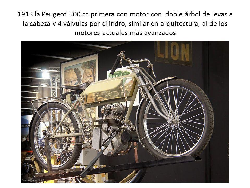 1913 la Peugeot 500 cc primera con motor con doble árbol de levas a la cabeza y 4 válvulas por cilindro, similar en arquitectura, al de los motores actuales más avanzados
