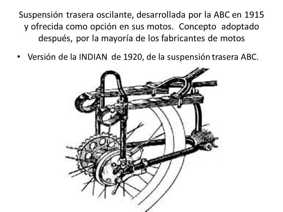 Suspensión trasera oscilante, desarrollada por la ABC en 1915 y ofrecida como opción en sus motos. Concepto adoptado después, por la mayoría de los fabricantes de motos