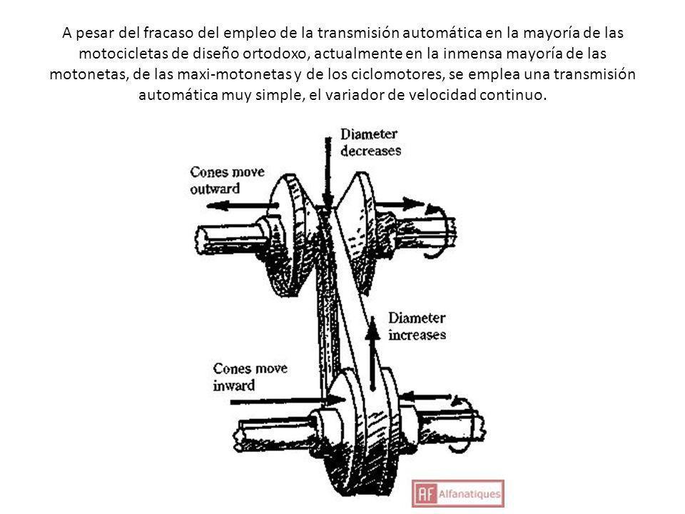 A pesar del fracaso del empleo de la transmisión automática en la mayoría de las motocicletas de diseño ortodoxo, actualmente en la inmensa mayoría de las motonetas, de las maxi-motonetas y de los ciclomotores, se emplea una transmisión automática muy simple, el variador de velocidad continuo.