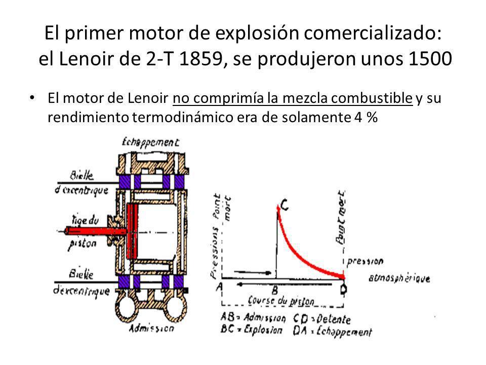 El primer motor de explosión comercializado: el Lenoir de 2-T 1859, se produjeron unos 1500