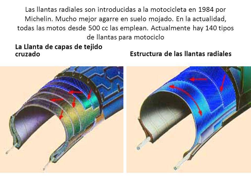 Las llantas radiales son introducidas a la motocicleta en 1984 por Michelin. Mucho mejor agarre en suelo mojado. En la actualidad, todas las motos desde 500 cc las emplean. Actualmente hay 140 tipos de llantas para motociclo
