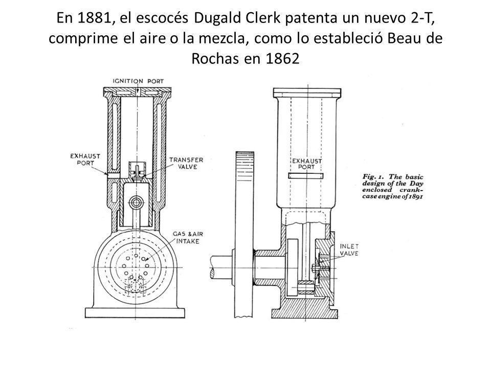 En 1881, el escocés Dugald Clerk patenta un nuevo 2-T, comprime el aire o la mezcla, como lo estableció Beau de Rochas en 1862