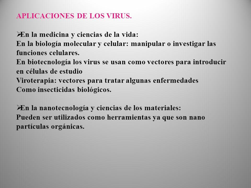 APLICACIONES DE LOS VIRUS.