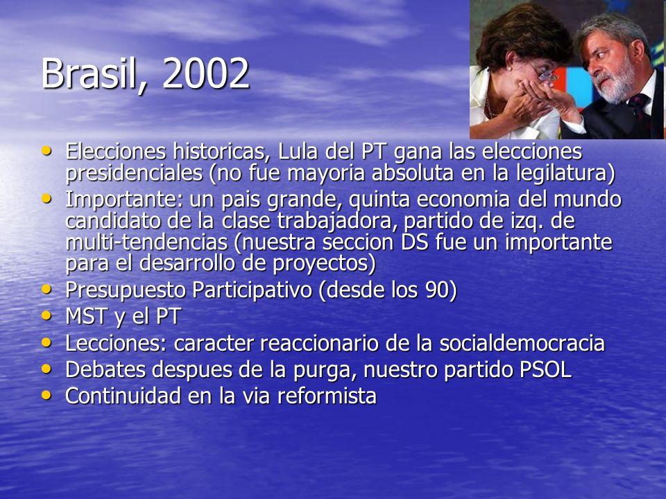 Brasil, 2002 Elecciones historicas, Lula del PT gana las elecciones presidenciales (no fue mayoria absoluta en la legilatura)