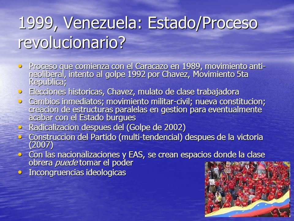 1999, Venezuela: Estado/Proceso revolucionario