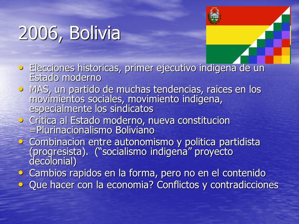 2006, BoliviaElecciones historicas, primer ejecutivo indigena de un Estado moderno.