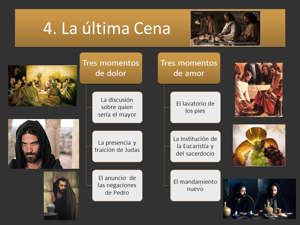 4. La última Cena Tres momentos de dolor Tres momentos de amor