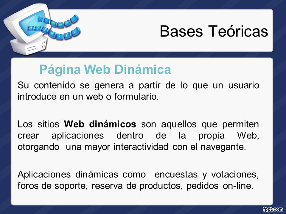 Bases Teóricas Página Web Dinámica