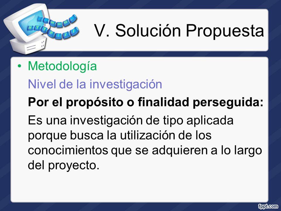 V. Solución Propuesta Metodología Nivel de la investigación