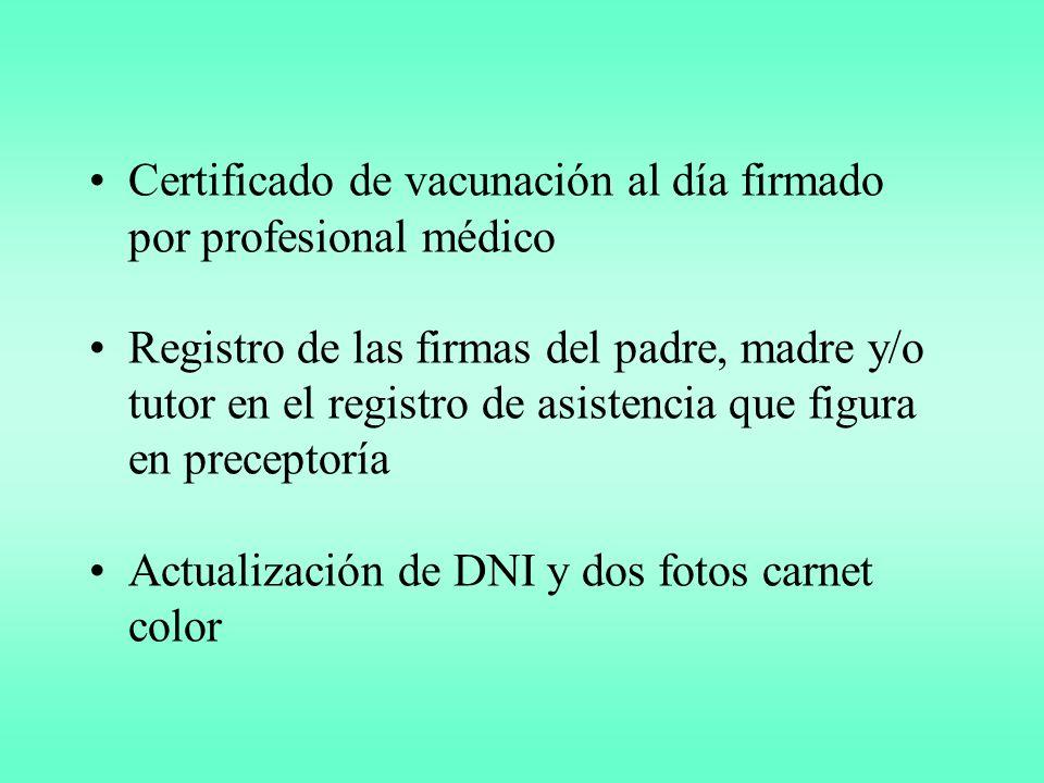 Certificado de vacunación al día firmado por profesional médico