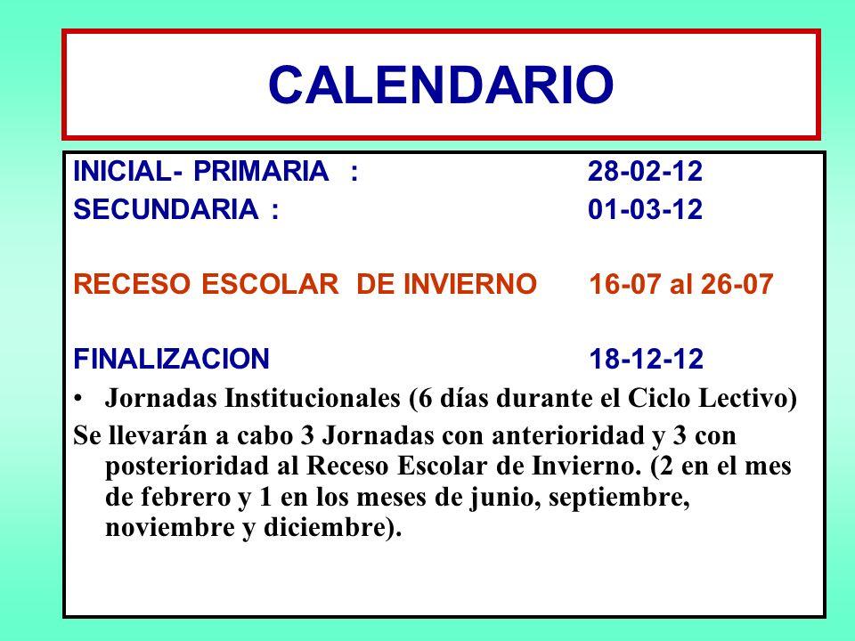 CALENDARIO INICIAL- PRIMARIA : 28-02-12 SECUNDARIA : 01-03-12
