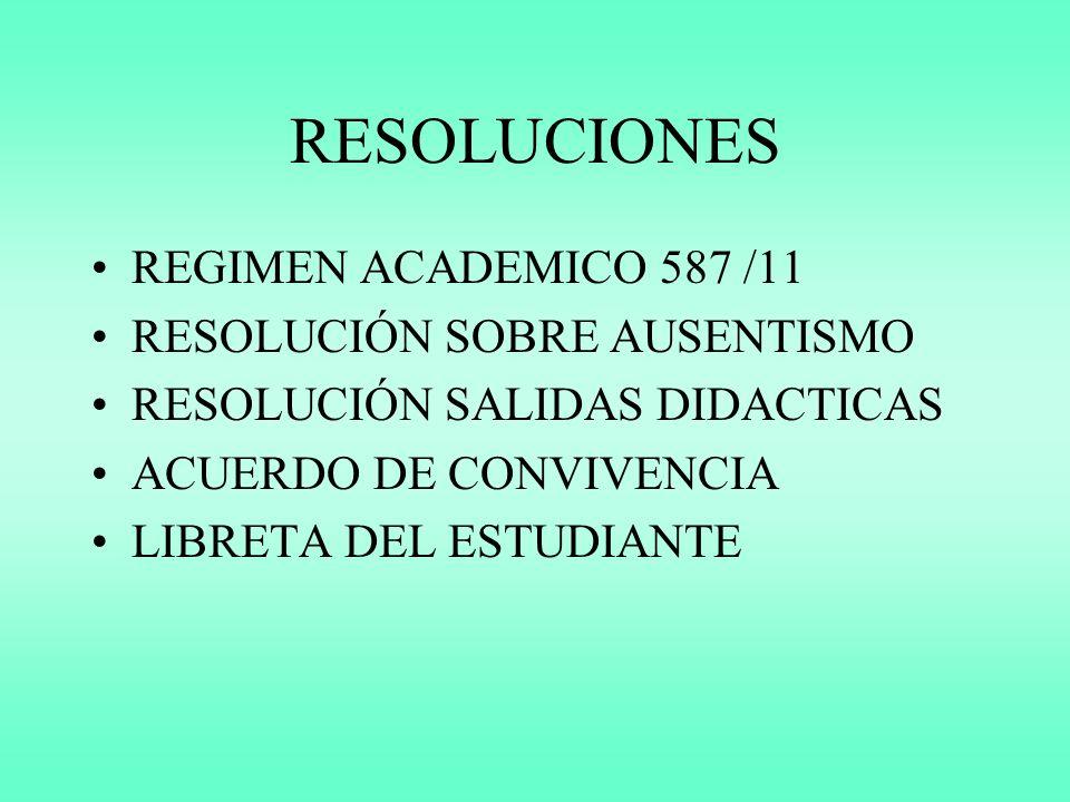 RESOLUCIONES REGIMEN ACADEMICO 587 /11 RESOLUCIÓN SOBRE AUSENTISMO