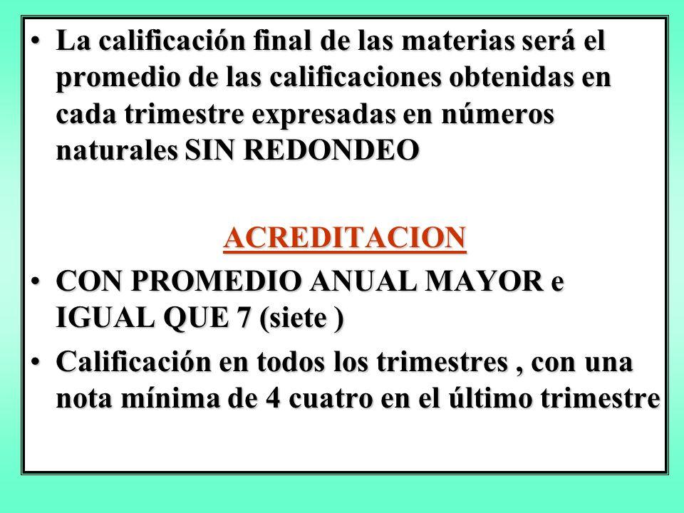 La calificación final de las materias será el promedio de las calificaciones obtenidas en cada trimestre expresadas en números naturales SIN REDONDEO