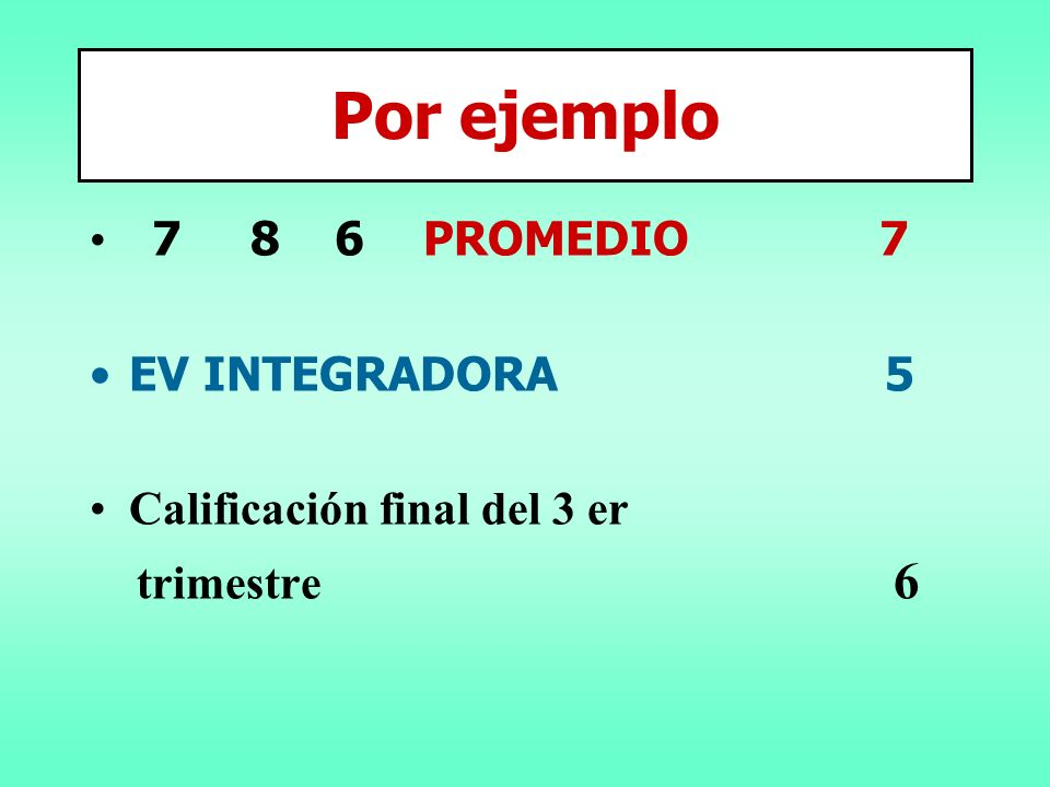 Por ejemplo 7 8 6 PROMEDIO 7 EV INTEGRADORA 5