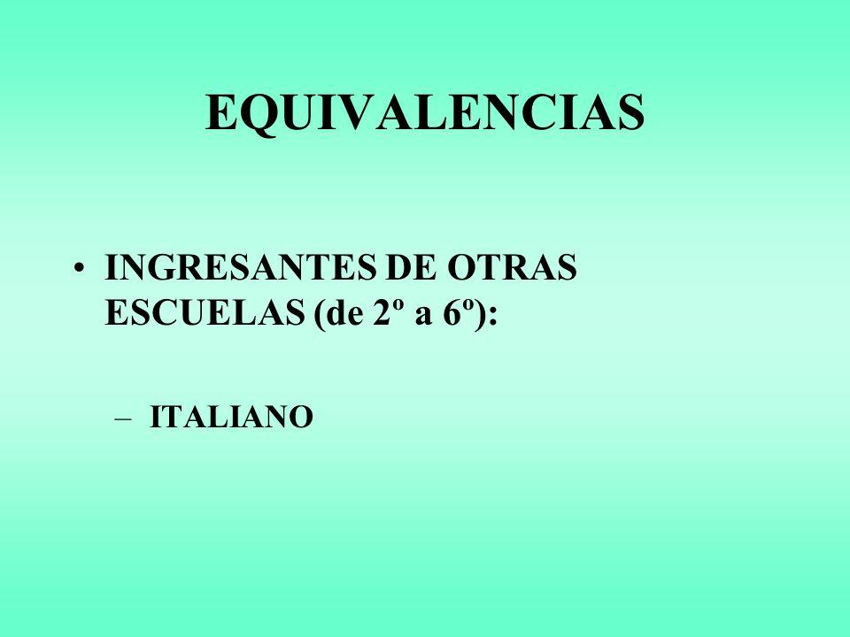 EQUIVALENCIAS INGRESANTES DE OTRAS ESCUELAS (de 2º a 6º): ITALIANO