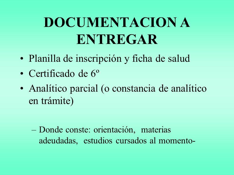 DOCUMENTACION A ENTREGAR