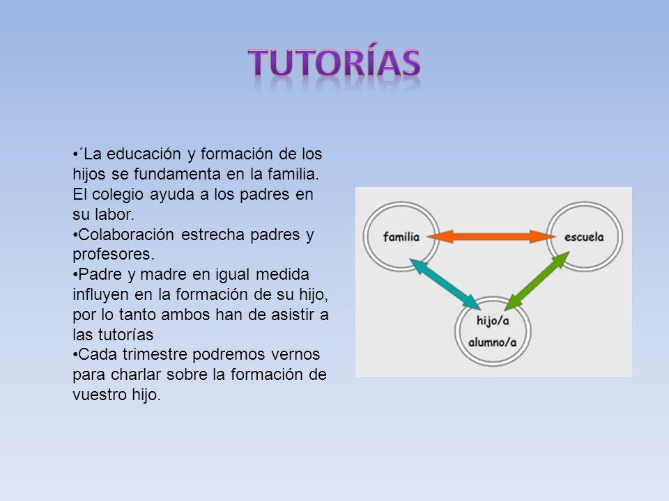 tutorías ´La educación y formación de los hijos se fundamenta en la familia. El colegio ayuda a los padres en su labor.