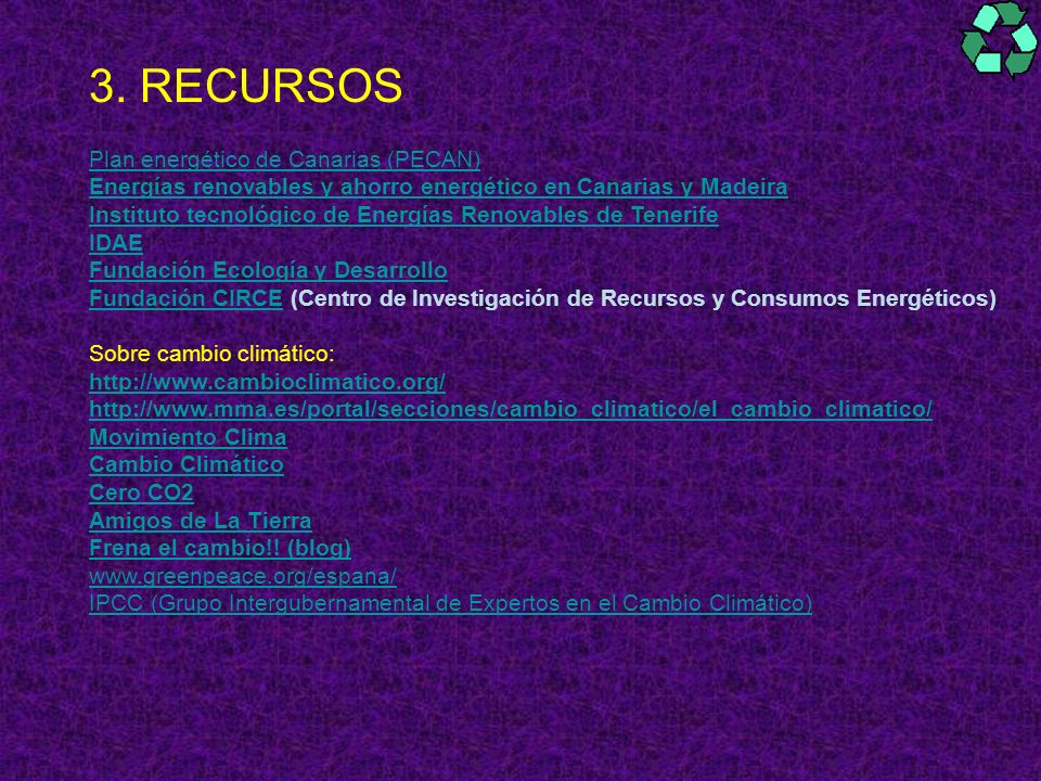3. RECURSOS Plan energético de Canarias (PECAN)