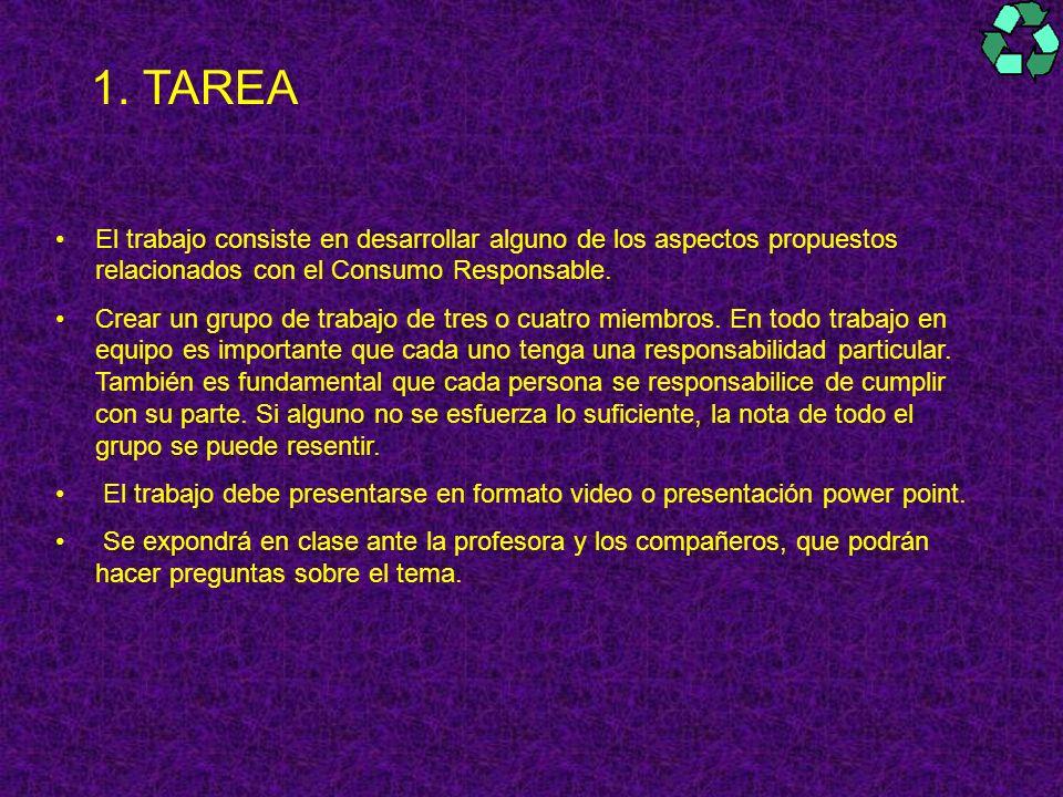 TAREA El trabajo consiste en desarrollar alguno de los aspectos propuestos relacionados con el Consumo Responsable.