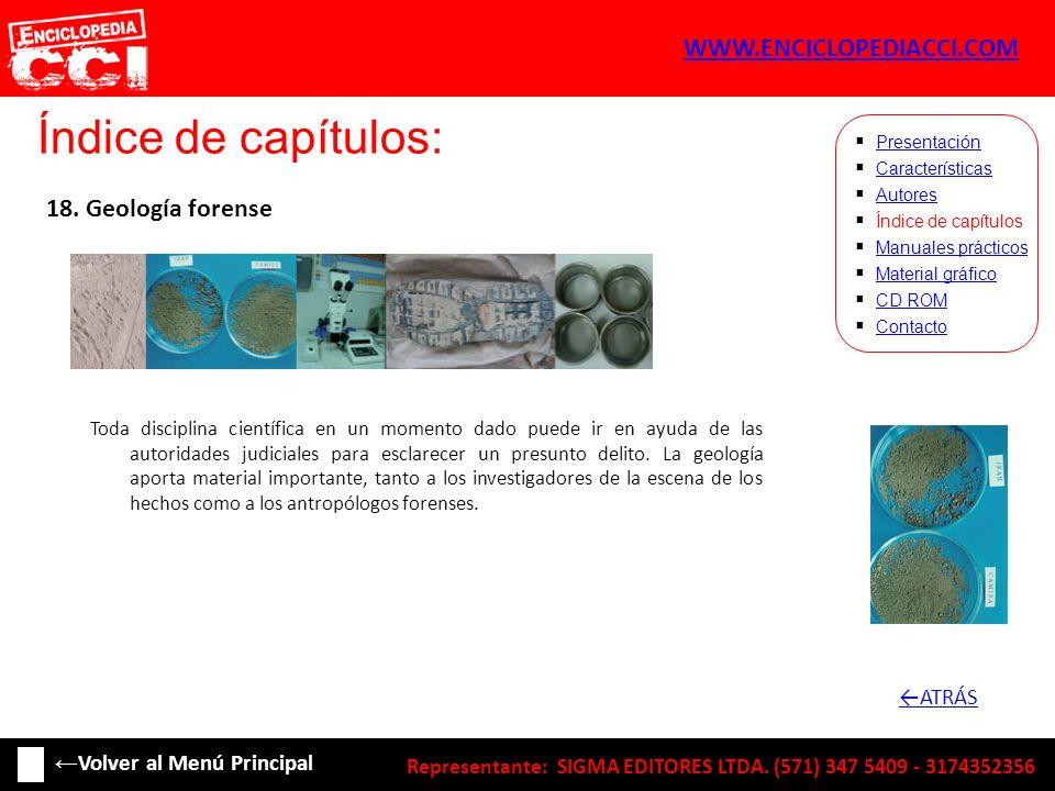 Índice de capítulos: WWW.ENCICLOPEDIACCI.COM 18. Geología forense
