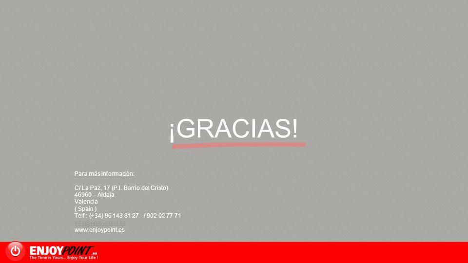 ¡GRACIAS! Para más información: C/ La Paz, 17 (P.I. Barrio del Cristo)